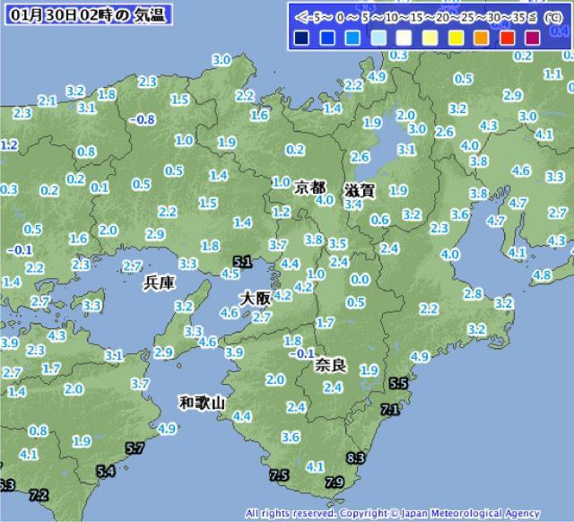 1月30日午前2時の近畿地方の気温分布