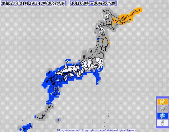 29日17時発表の30日03時~06時の天気分布予想