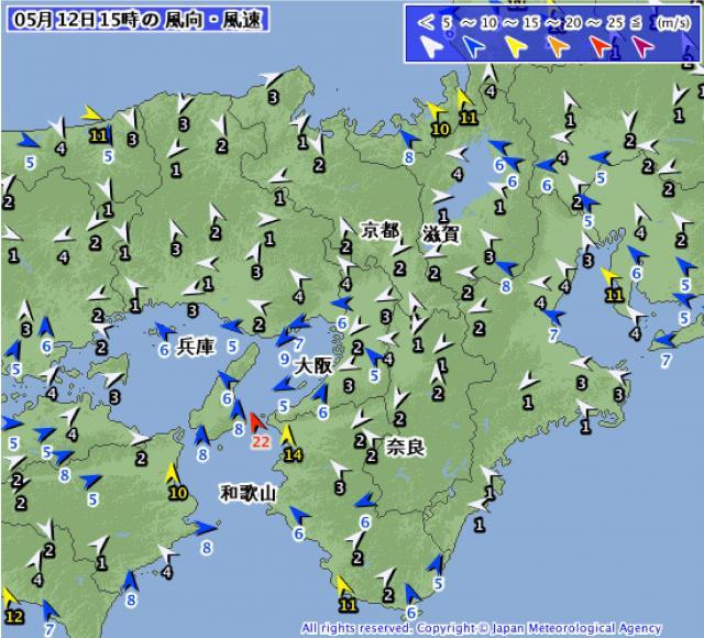 2015年5月12日15時のアメダス 近畿地方 風向・風速 の分布