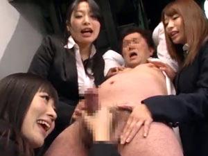 副社長をお仕置き寸止め手コキフェラで弄ぶ痴女秘書軍団!大槻ひびき 初美沙希 山本美和子