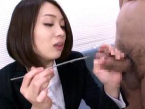 セクシー淫語お姉さんがM男に尿道ブジーを突き刺して尿道責め 杏子ゆう