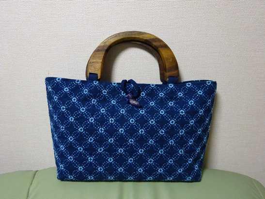 201471223 七宝繋ぎ文様の刺子のバッグ