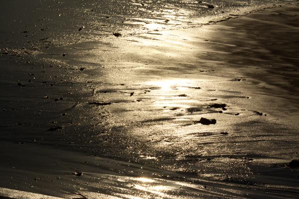 砂に映る太陽の光