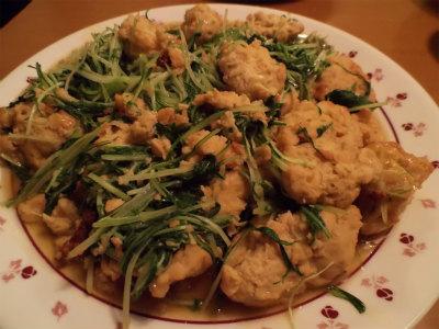 2.14水菜・大豆と鶏団子の炒め物