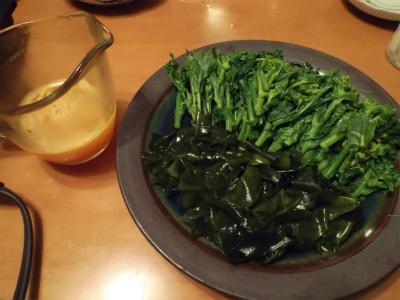 3.1ワカメと菜花の黄身酢かけ