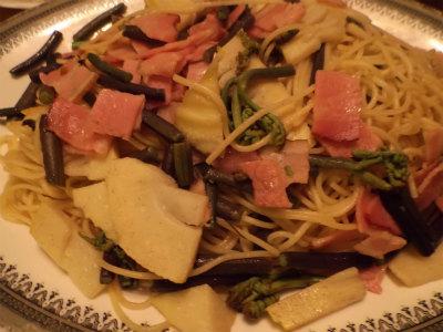 4.19山菜のペペロンチーノ