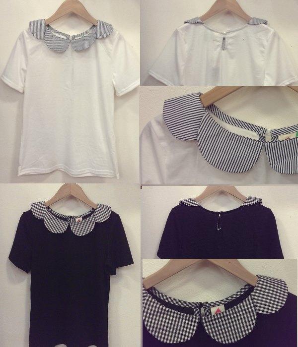 merlot フラワー襟半袖トップス ¥2600+税