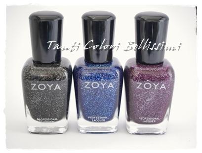ZOYAの3種ラメでペディ