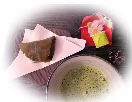 道明寺・お抹茶で・・・