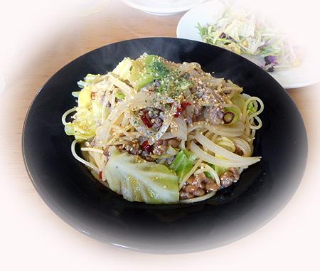 挽肉納豆味噌ペペロンチ-ノ