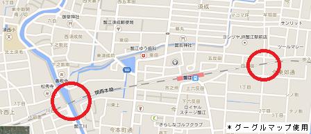 踏切蟹江地図