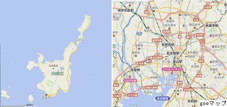 8石垣島と愛知県蟹江町を中心マップ goo