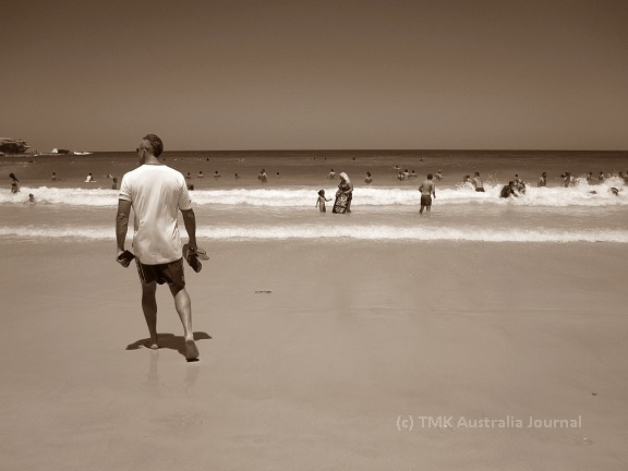 Mike at Bondi beach sepia