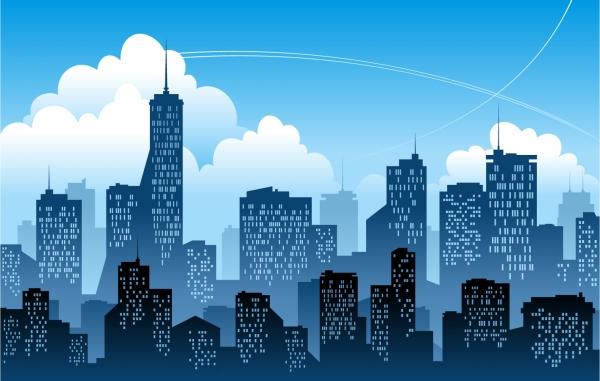 都会の摩天楼シルエット背景 Modern City Vector Illustration