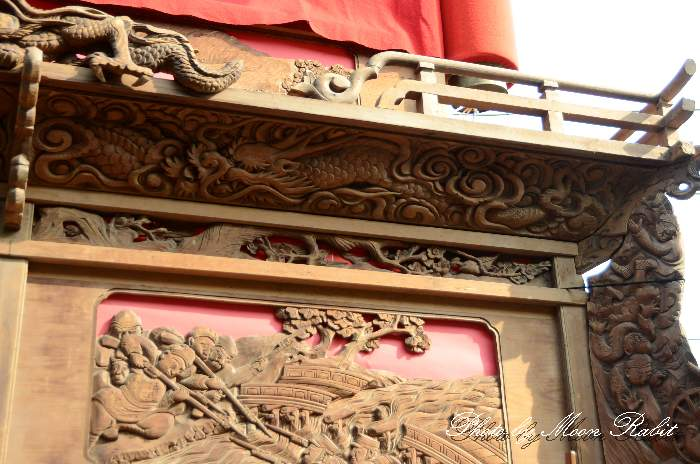 先代西町東組屋台の胴板彫刻・隅障子など 小松祭り
