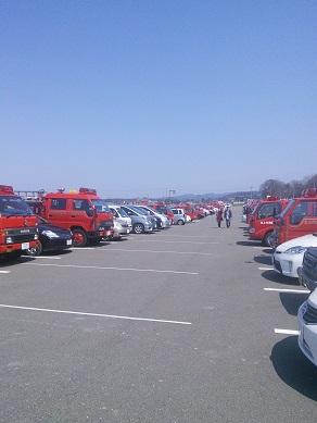 消防車ズラリ