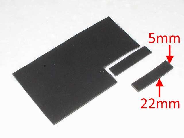 DS3 Dualshock3 デュアルショック3 Wireless Controller Black CECHZC2J A1 誤作動対策(Random Button Error Fix) 失敗事例、取り外したフレキシブル基板の接点シートの下の長方形のプラスチック枠の詰め込み用に厚さ 1mm の 杉田エース 天然ゴムシート板 NR-5 を 5mm x 22mm を 2 枚分カットする