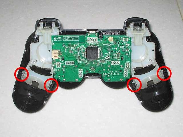 DS3 Dualshock3 デュアルショック3 Wireless Controller Black CECHZC2J A1 組み立て作業、コントローラー本体に電子回路基板(+フレキシブル基板+基板固定用白いプラスチック台座)を取り付けたところ