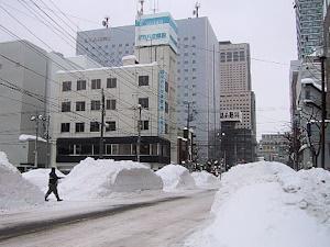 道路の脇に雪の山
