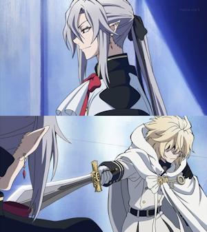 剣を向けるミカエラ