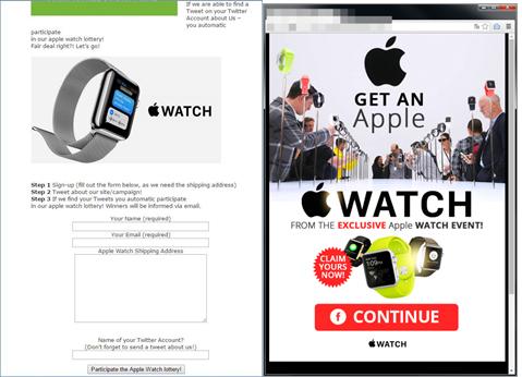 Apple Watch の詐欺サイトに気をつけて!