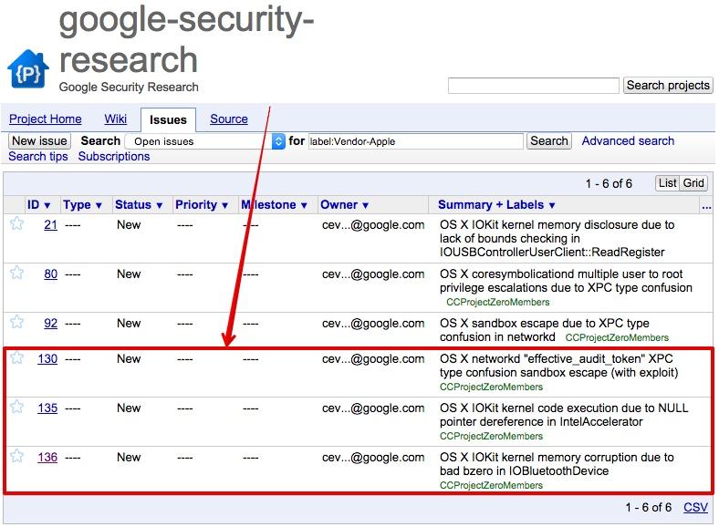 Google今度はAppleのゼロデイ脆弱性を3つ公開 AppleはOS Xの次のアップデートで対応