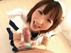 【鈴木ありす】パンチラで挑発しながら手コキフェラしてくる可愛すぎるコスプレ痴女メイド