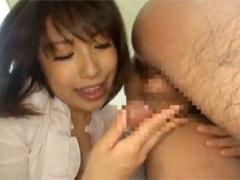 舌先をアナルに捻じ込んでチンポを後に引っ張って金玉を吸込みフェラするド痴女